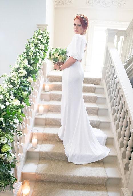 Wedding staircase floral decor.