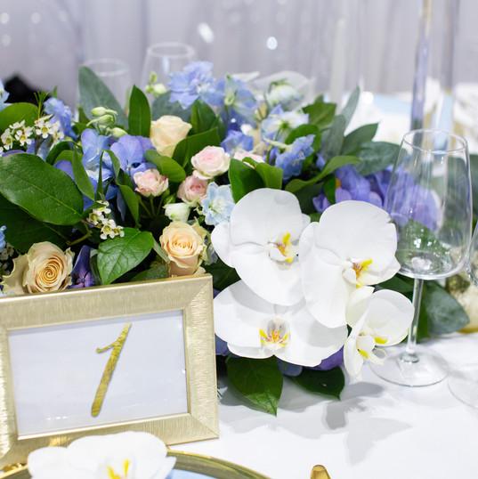 Luxury blue floral runner