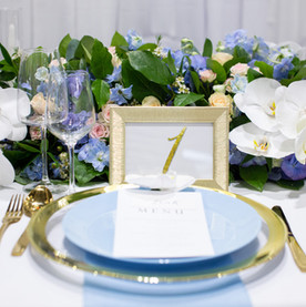 Blue plate and gold charger plate