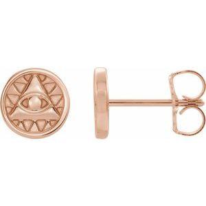 14K Rose Eye of Providence Earrings
