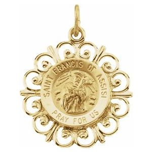 14K Yellow 18 mm St. Francis of Assisi Medal