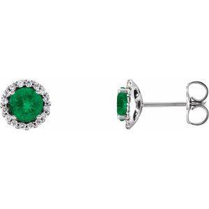 14K White Chatham® Lab-Created Emerald & 1/6 CTW Diamond Earrings