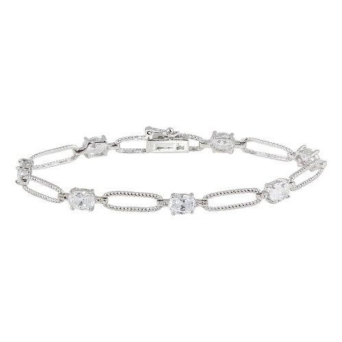 925 Rhodium Plated Clear CZ Large Link Bracelet