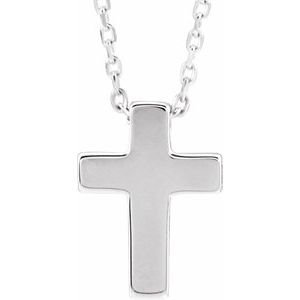 "Sterling Silver Petite Cross 16-18"" Necklace"