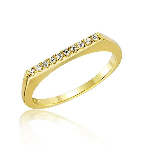 925 Gold Plated Stackable Flat Top CZ Ring