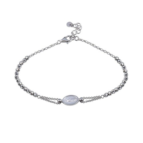 925 Rhodium Plated Lady of Guadalupe Bracelet