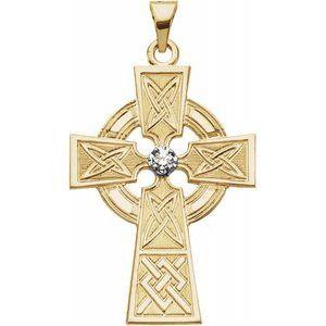 14K Yellow & White .06 CTW Diamond Cross Pendant
