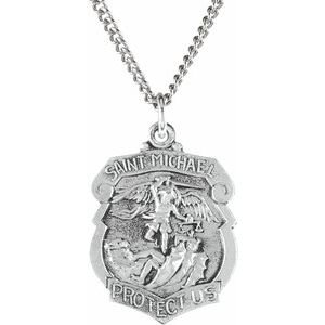 "Sterling Silver 25x21 mm St. Michael Medal 24"" Necklace"