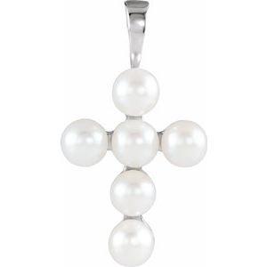 14K White Freshwater Cultured Pearl Cross Pendant