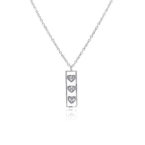 925 Clear CZ Rhodium Plated Bar Trio Hearts Pendant Necklace
