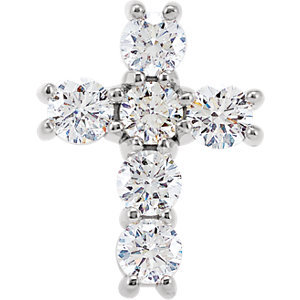 14K White 3/4 CTW Diamond Cross Pendant