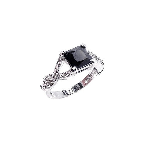 925 Rhodium Plated Black Square Center and Clear CZ Ring