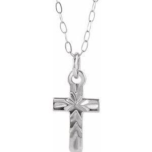 "14K White Cross 15"" Necklace"