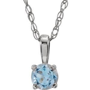 """14K White Aquamarine 14"""" Necklace"""