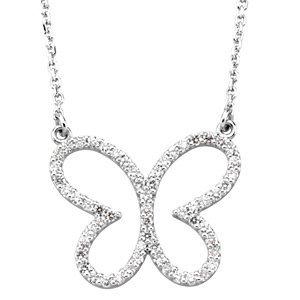 "14K White 1/4 CTW Diamond Butterfly 16"" Necklace"