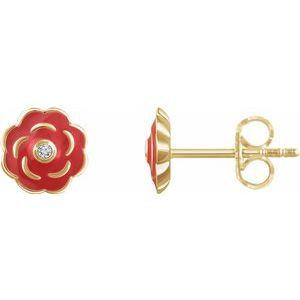 10K Yellow .01 CTW Diamond Enamel Flower Earrings
