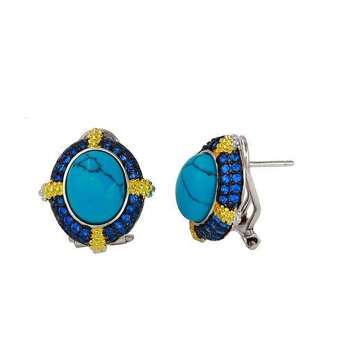 Turquoise with Yellow & Blue Cubic Zirconia Sterling Silver Stud Earrings