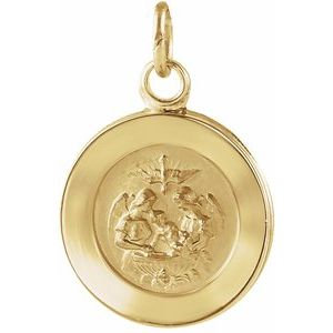 14K Yellow 15 mm Round Baptismal Pendant Medal