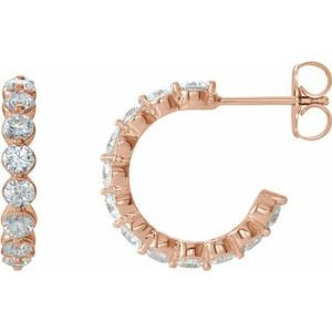 14K Rose 1 3/8 CTW Diamond Hoop Earrings