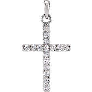 14K White 1/4 CTW Diamond Cross Pendant