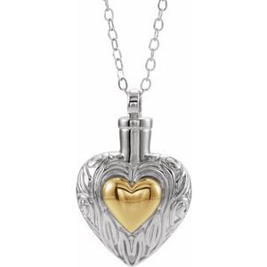 "Sterling Silver 14K Yellow Gold-Plated Heart Ash Holder 18"" Necklace"