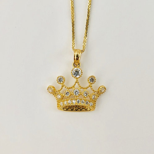 Crown Necklace in 14k Yellow Gold