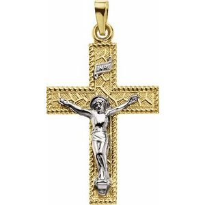 14K Yellow & White 29x20 mm Crucifix Pendant