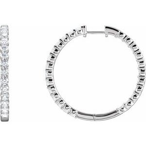 14K White 4 CTW Lab-Grown Diamond Inside-Outside Hinged 36 mm Hoop Earrings
