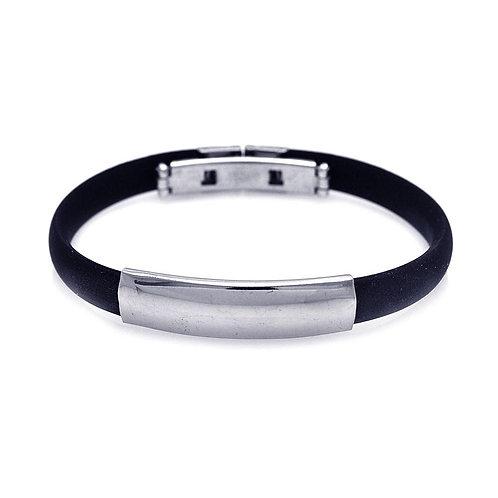 Black Rubber Stainless Steel ID Men's Bracelet