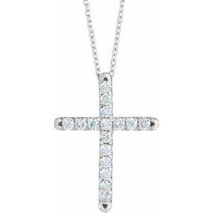 14K White 1/2 CTW Diamond French-Set Cross Pendant