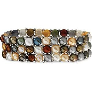 Sterling Silver Freshwater Cultured Multi-Colored Pearl 3 Row Stretch Bracelet
