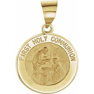 14K Yellow 15 mm Round Hollow First Communion Medal
