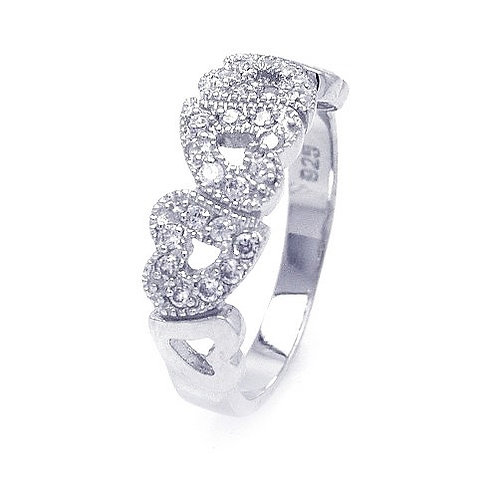 925 Rhodium Plated CZ Multiple Hearts Ring