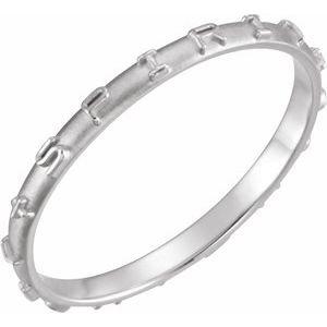 14K White Holy Spirit Prayer Ring Size 7