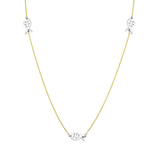 Two Tone Gold Plated Fish Sterling Silver 34' Necklace
