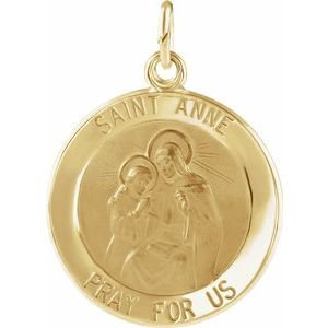 14K Yellow 15 mm St. Anne Medal