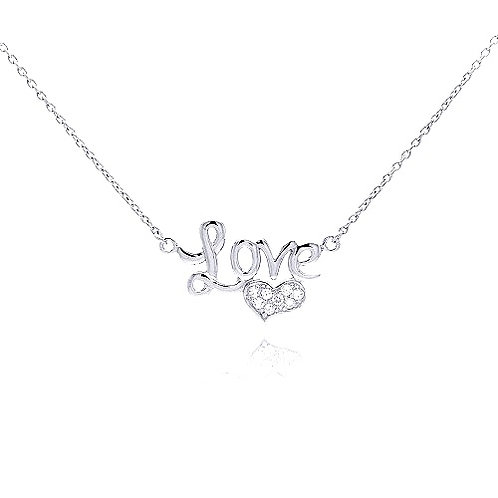 925 Clear CZ Rhodium Plated Love Heart Pendant Necklace