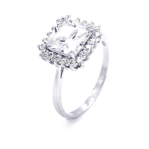 Square Cluster Cubic Zirconia Sterling Silver Engagement Ring