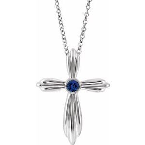 "14K White Chatham® Lab-Created Blue Sapphire Cross 16-18"" Necklace"