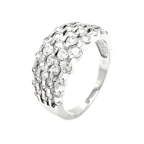 925 Rhodium Plated Clear Round CZ Ring