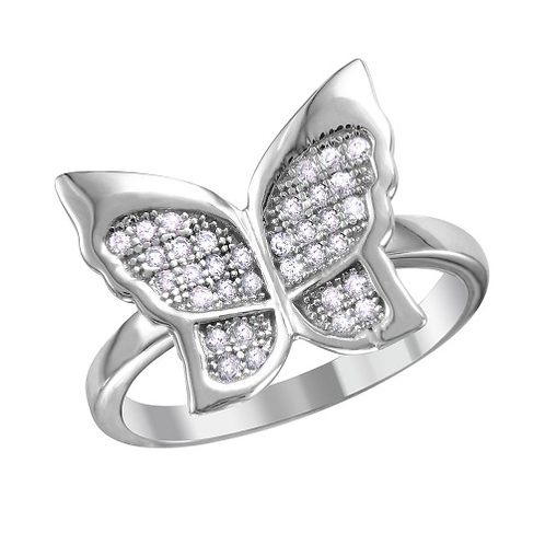 925 Rhodium Plated Butterfly Ring with Micro Pave CZ Stones