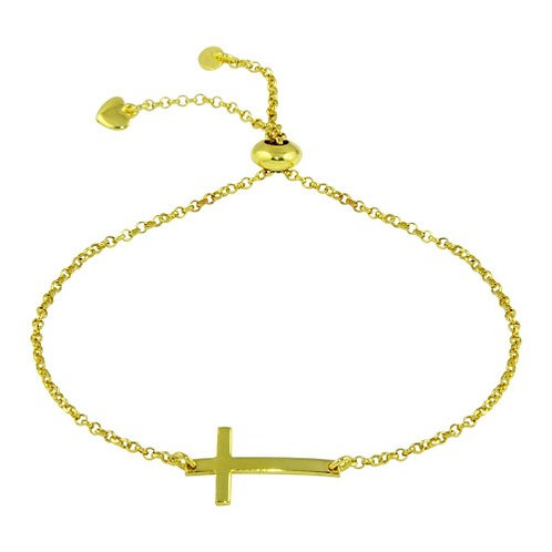 925 Horizontal Cross Bracelet with Heart Charms