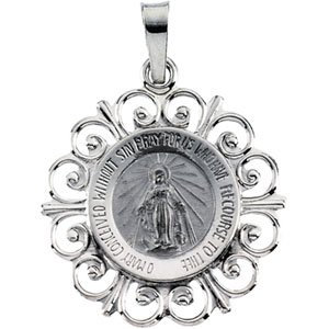 14K White 18 mm Round Miraculous Medal