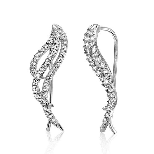 Wings Cubic Zirconia Sterling Silver Rhodium Plated Climbing Earrings
