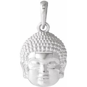 14K White 14.7x10.5 mm Meditation Buddha Pendant