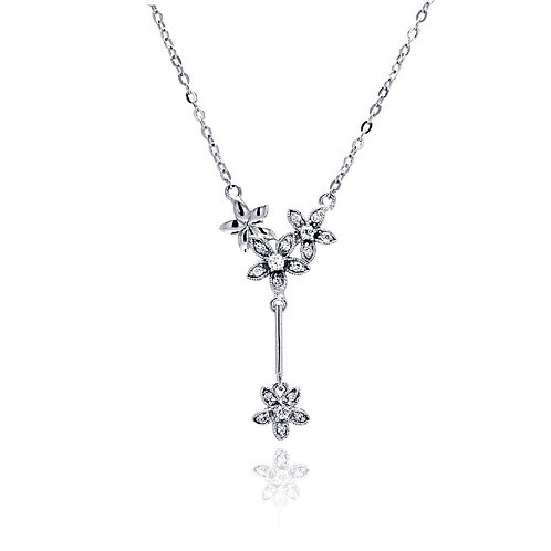 Flowers CZ Sterling Silver Drop Necklace