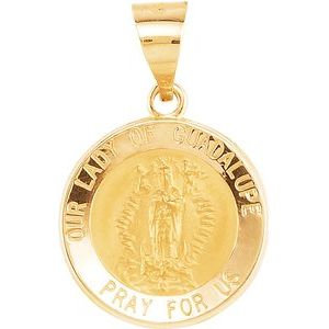 14K Yellow 15 mm Round Hollow Our Lady of Guadalupe Medal