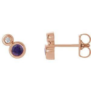 14K Rose Amethyst & .06 CTW Diamond Earrings