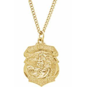 """24K Gold Plated 28.6x20.87 mm St. Michael 24"""" Necklace"""