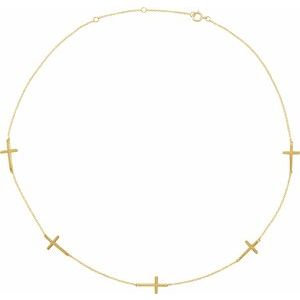 """14K Yellow 5-Station Cross Adjustable 16-18"""" Necklace"""